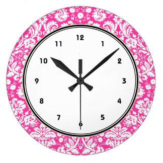 Hot pink damask pattern large clock