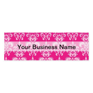 Hot pink damask pattern pack of skinny business cards