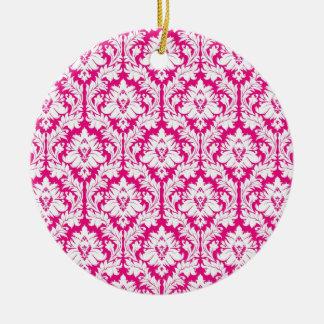 Hot Pink damask Round Ceramic Ornament