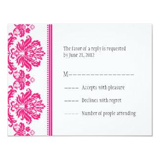 """Hot Pink Damask RSVP Cards 4.25"""" X 5.5"""" Invitation Card"""