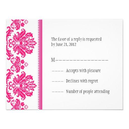 Hot Pink Damask RSVP Cards Custom Invitations