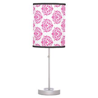 Hot pink damask table lamp