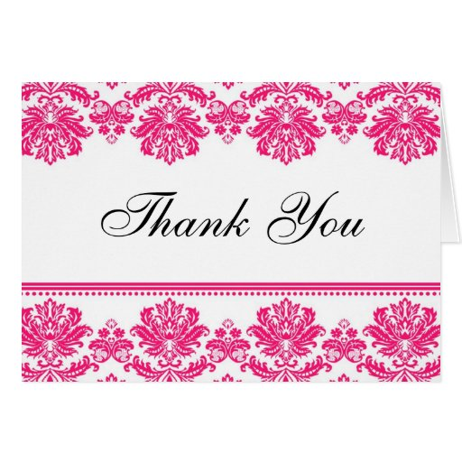 Hot Pink Damask Thank You Cards