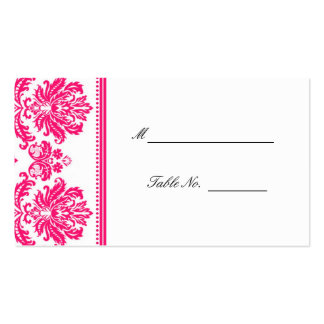 Hot Pink Damask Wedding Seating Placecards Business Cards