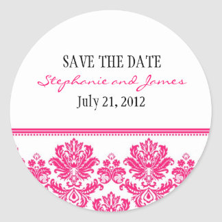 Hot Pink Damask Wedding Sticker