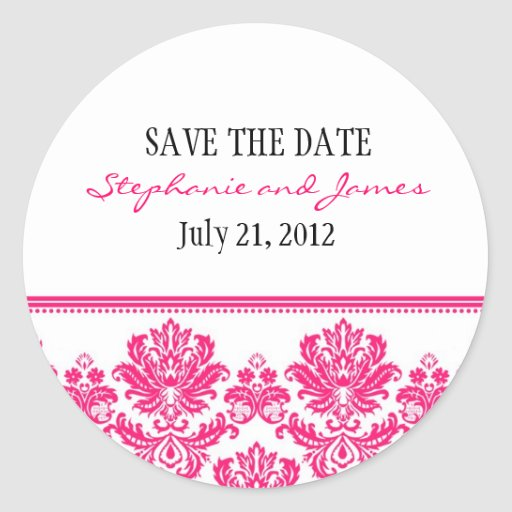 Hot Pink Damask Wedding Sticker