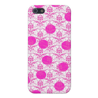 Hot Pink Damask with Pink Polka Dots Case For iPhone 5