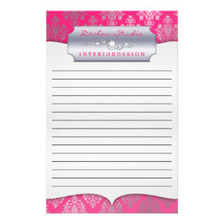 Hot Pink Dashing Damask Lined Business Stationary Stationery