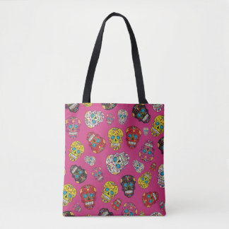 Hot Pink Day of the Dead Colorful Sugar Skull Tote Bag