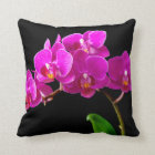 Hot Pink Dendrobium Orchid Flower Orchids Template Throw Pillow