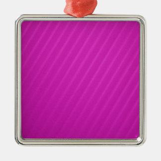 Hot Pink Diagonal Stripes Silver-Colored Square Ornament