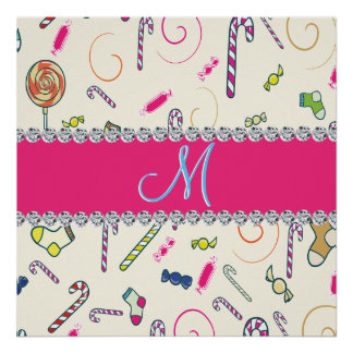 Hot Pink Diamond Candy Cane Monogram Poster