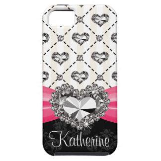 Hot Pink Diamond Heart iPhone 5 Case Mate Tough