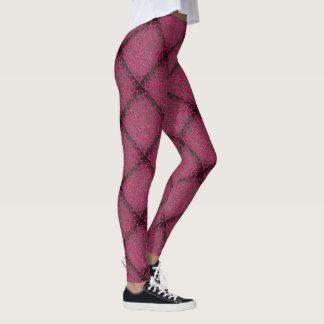 Hot Pink Diamond Modern Mosaic Pattern Leggings