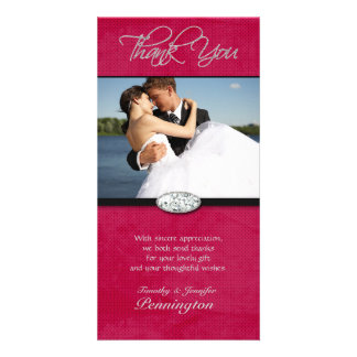 Hot pink diamond wedding thank you photocard card
