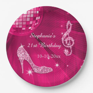 Hot Pink Disco Ball and Heels 21st Birthday Paper Plate