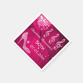 Hot Pink Disco Ball and Sparkle Heels 50th Disposable Napkin