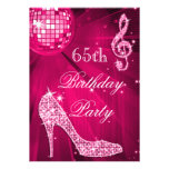 Hot Pink Disco Ball Sparkle Heels 65th Birthday Custom Invite
