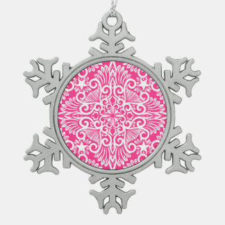 Hot pink Dream root Snowflake Pewter Christmas Ornament