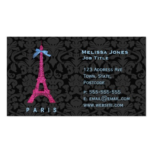 Hot Pink Eiffel Tower in faux glitter Business Cards