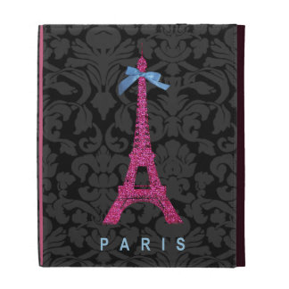 Hot Pink Eiffel Tower in faux glitter iPad Cases