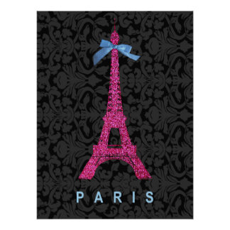 Hot Pink Eiffel Tower in faux glitter Poster