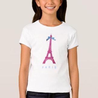 Hot Pink Eiffel Tower in faux glitter T-Shirt