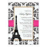 "Hot Pink Eiffel Tower Parisian Bridal Shower 5"" X 7"" Invitation Card"