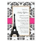 Hot Pink Eiffel Tower Parisian Bridal Shower Card