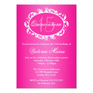 Hot Pink Elegant Swirl Quinceanera Birthday Party Card