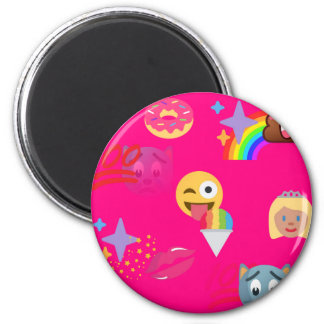 hot pink emoji 2 inch round magnet