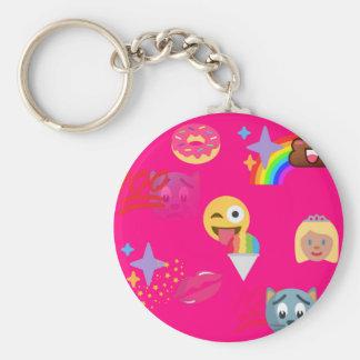 hot pink emoji basic round button keychain