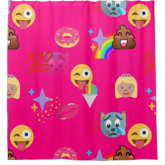 hot pink emoji bathroom shower curtain