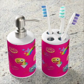 hot pink emoji bathroom toothbrush bath set