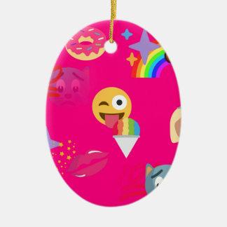 hot pink emoji ceramic oval ornament