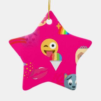 hot pink emoji ceramic star ornament
