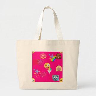 hot pink emoji large tote bag