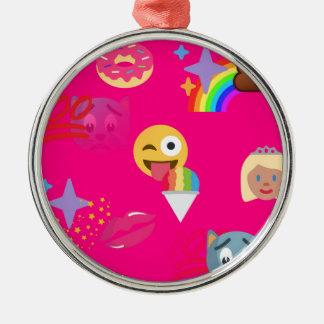 hot pink emoji Silver-Colored round ornament