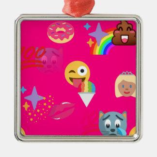 hot pink emoji Silver-Colored square ornament