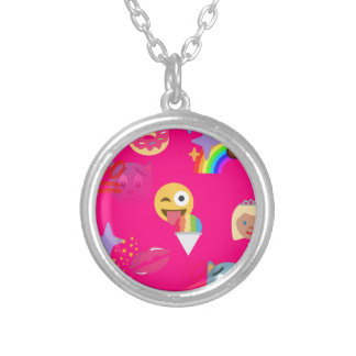 hot pink emoji silver plated necklace