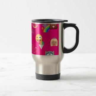 hot pink emoji travel mug
