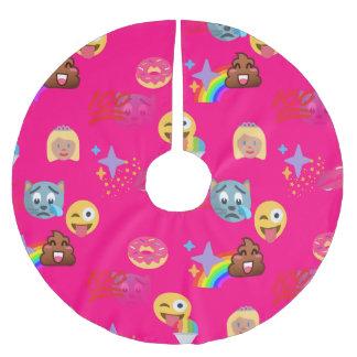 hot pink emoji xmas christmas tree skirt