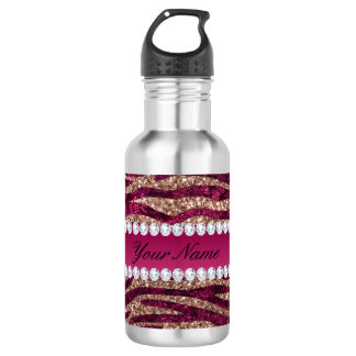Hot Pink Faux Foil Zebra Stripes Rose Gold 532 Ml Water Bottle