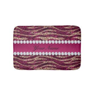 Hot Pink Faux Foil Zebra Stripes Rose Gold Bathroom Mat