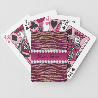 Hot Pink Faux Foil Zebra Stripes Rose Gold Bicycle Playing Cards