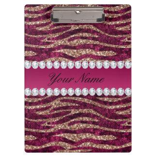 Hot Pink Faux Foil Zebra Stripes Rose Gold Clipboard