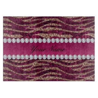 Hot Pink Faux Foil Zebra Stripes Rose Gold Cutting Board