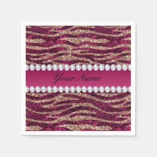 Hot Pink Faux Foil Zebra Stripes Rose Gold Disposable Napkin