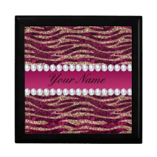 Hot Pink Faux Foil Zebra Stripes Rose Gold Gift Box
