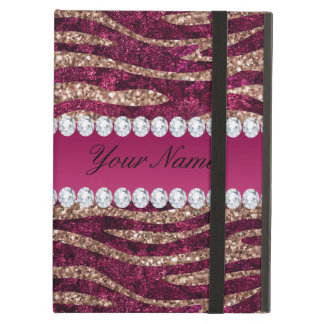 Hot Pink Faux Foil Zebra Stripes Rose Gold iPad Air Case